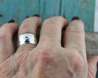 Sterling Silver Wide Band, Diamond-Patterned, Woman's Ring, Wedding Ring, MTR1