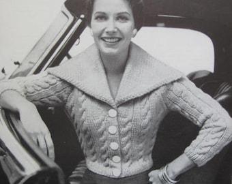 1950's Vintage Knitting Pattern PDF Women's Saratoga Sweater 731-3