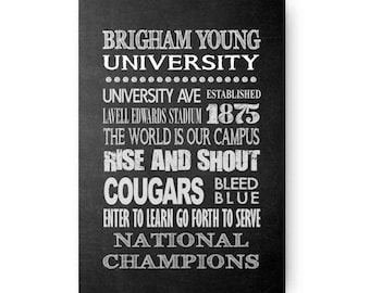 Brigham Young University Cougars Chalkboard Poster Digital Download