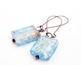 Blue glass earrings - foil glass earrings - oblong earrings - square glass earrings - baby blue earrings - brass earrings - boho earrings
