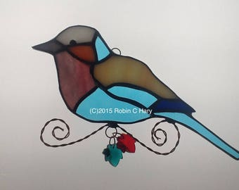 African Lilac Breasted Roller Stained Glass Suncatcher