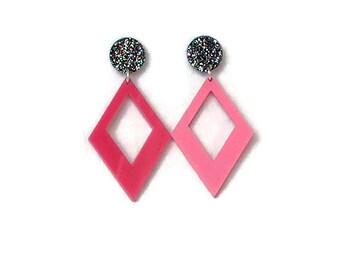 Pink Diamond Shaped Dangle Earrings  -Rainbow Glitter - Retro, Mod, Vintage Style  - Laser Cut Acrylic - Geometric Drop Earrings