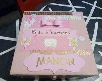 Box keepsake for baby (girl version) customizable colors and name