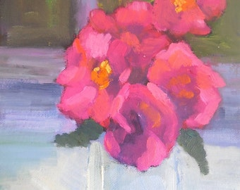 "Small Flower Painting, Pink Flowers, Flower Still Life, 6x8"" Original Oil Painting, Floral Still Life, Free Shipping in US"