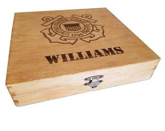Personalized US Coast Guard Keepsake Box - Boot camp graduation gift for Coast Guard