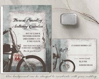 Motorcycle Wedding Invitation Biker Bride Wedding Invitations for Biker Harley Davidson Weddings Route 66 Wedding DIY Printable Templates