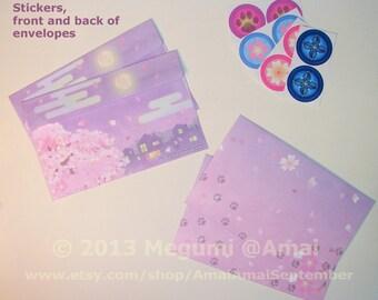 "5x7"" Cherry Blossoms Twilight Envelope for Ninja Kitties Note Card - SOLD SINGLY.  cat kitten pet cute moon sakura tree floral Spring"