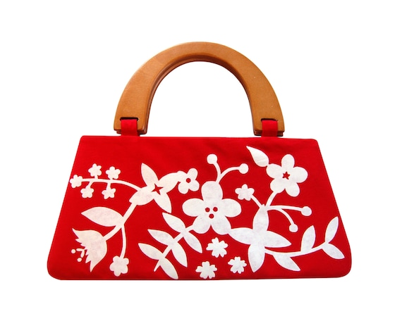 Modern floral handbag, Red handbag, Screen printed handbag, Red and white purse, Handbag with handle, Womens handbag, Top handle bag