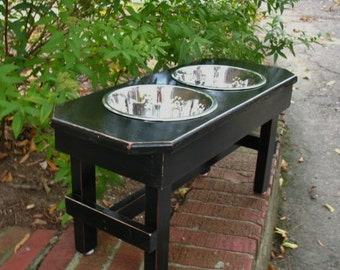 Elevated Large Dog Bowl Feeder,Black, Dog Bowl, Large Dog Feeder,  Modern, 2 Two Qt Stainless Pet Bowls, Elevated Dog Dish, Made To Order