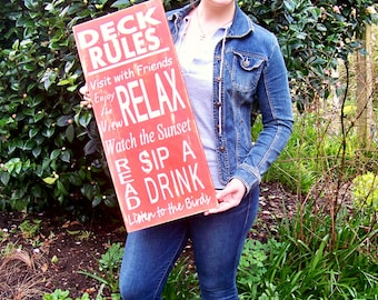 Porch Signs, Deck Rules, Lake, Lake House, Cabin Decor, Home Decor, Hand-painted, Typography, Wood Sign