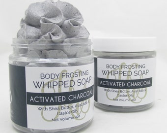Fluffy Whipped Soap Body Frosting - Activated Charcoal - 4oz Cream Soap, Body Wash, Bath Soap, Bath Whip, Soaps, Vegan, Gift For Her, Favor