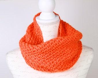 Knitted Scarf, Orange neckwarmer,neckwarmer cowl