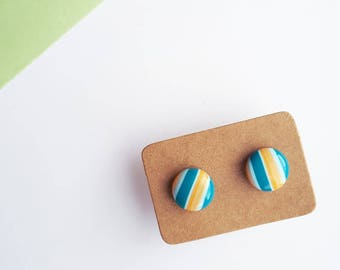 Teal Turquoise Blue & Orange Stud Earrings - 10mm Round - Simple Minimalist Stripe Striped Stripy Lines Geometric - Stainless Steel Studs