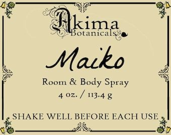 MAIKO Room & Body Spray 4 oz ~ black cherry, fresh ginger, neroli ~ Free from alcohol, parabens, preservatives ~ For home, office, car