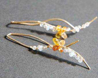 Orange Sapphire Wavy Earrings, Gold Wire Earrings, Modern Jewelry, Long Earrings