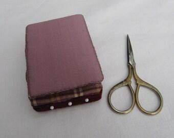 Lavender silk needle book, pin keeper