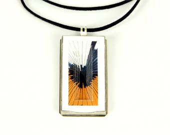 Sun HANDMADE SILVER and paper Necklace
