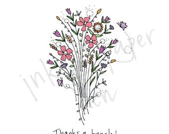 Thanks A Bunch Card - Thank You Card - Thanks Card - Flower Card