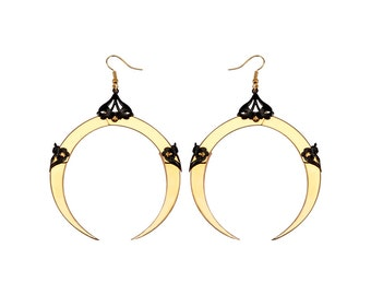 FULL MOON / Large Gold Dangle Earrings / Free Shipping