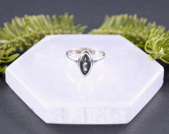 Petite Marquise Mystic Fire Topaz Ring // Mystic Fire Topaz Jewelry // Topaz Jewelry // Sterling Silver // Village Silversmith
