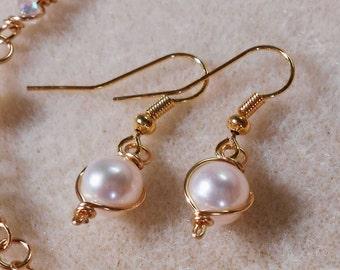 Sale! Wire Wrap 8mm Freshwater Pearl Earrings