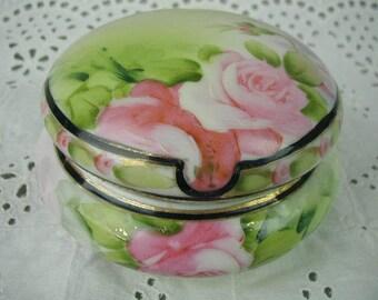 Vintage Trinket Box, Jewelry Box, Powder Box, Hand Painted Roses, Gilt Trim, Porcelain Trinket Box
