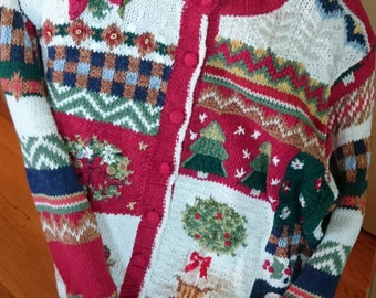 Christmas Sweater/ Cardigan/ Tiara International Sweater/ Patchwork/ Poinsetta Topiary/ Christmas trees and wreaths/ Tacky Sweater Party