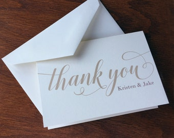 Graceful Wedding Thank You Notes Large Script, handmade wedding stationery, bride and groom wedding thank you cards thank you notes wedding
