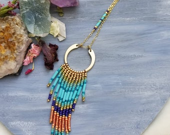 OOAK Beaded Boho Fringe Necklace, Turquoise, Purple, Peach, Glass, Gold, Artisan Beadwoven Necklace