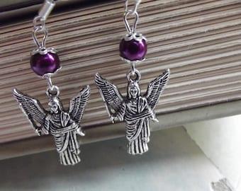 Guardian Angel Earrings -  Silver and Purple - To Benefit Heart Strings