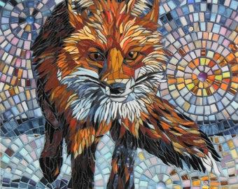 Homeward Bound Card - Fox Card - Fox Mosaic Art - Greetings Card - Fox Art - Fox Painting - Original Mosaic Fox - Card for Him Birthday Card