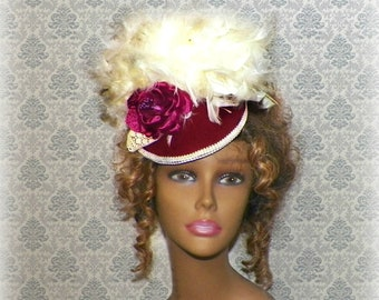 Victorian Red Hat Cream Gothic Burgundy Feather Fascinator Steampunk Lolita Costume Headpiece Old West Ivory Color  Marie Antoinette