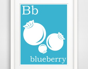 Children's Wall Art / Nursery Decor B is for Blueberry print by Finny and Zook