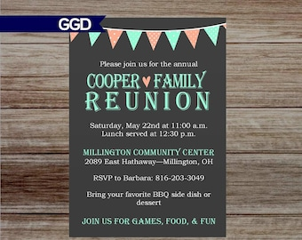 Family Reunion Invitation with Banner, banner invitation, family reunion invitation, printable invitation-Print Your Own