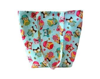 Owl Tote Bag, Blue Fabric Bag, Cloth Purse, Handmade Handbag, Aqua Blue, Green, Yellow, Pink, Shoulder Bag