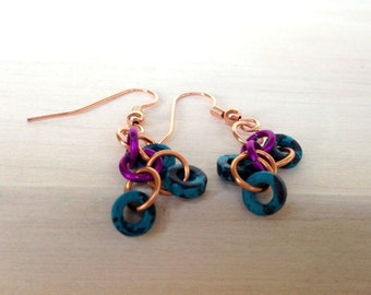 Colorful Petite Copper Dangle Earrings Playful Handmade Jewelry Dainty Lightweight Gypsy Earrings California USA Handcrafted