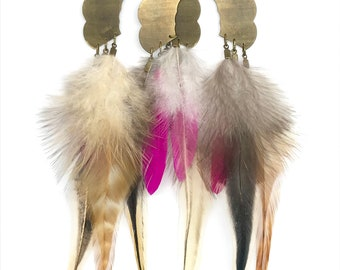 Alix natural feather earrings
