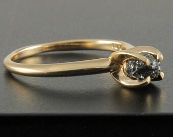 14K Gold Solitaire Ring with Black Row Diamond - Jet Black Uncut Rough Diamond - Engagement, Wedding Ring