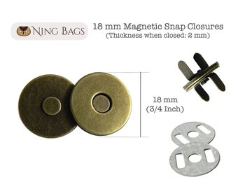 Set of 20 // 18 mm (Slim) Magnetic Snap Closures, Slim Magnetic Purse Snaps, Slim Magnetic Button in Antique Brass