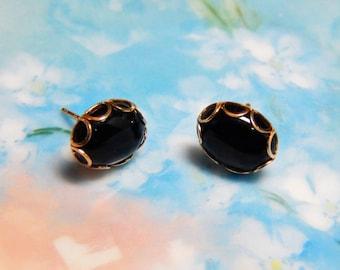 14K Black Onyx Earrings - 14K Gold Black Onyx Earrings - Black Onyx Earrings - Black Onyx - Gold Earrings - 14K Earrings - Onyx Earrings