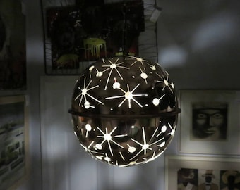 Mid-Century Modern Copper Pendent/Chandelier, With Prierced Cut To Create A Unique Light Effect.
