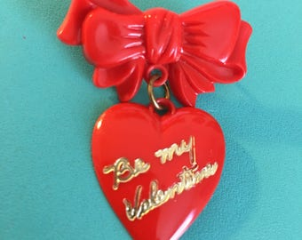Vintage BE MY VALENTINE  Red Plastic Brooch