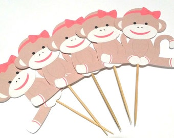 Girl Sock Monkey Theme Party -  Cupcake Toppers - 12 Count Toppers