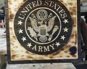 United States Army Seal Carved home decor personalized avaliable