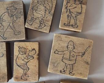 Antique Wood Block Stamp Set of 20