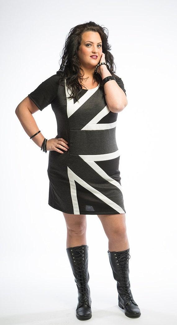 Plus Size Dress Womens Union Jack Plus Size Knit Dress