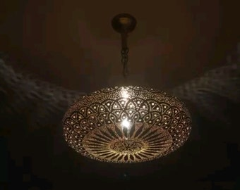 Moroccan Brass  Suspension Pressed Open Ball Of 35cm In Brass