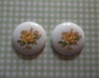 Vintage Cameos - Yellow Rose Cameos - 18mm Round Glass Cabochons - White Base Decal Stones - Made in Japan - Qty 4 *NEW ITEM*
