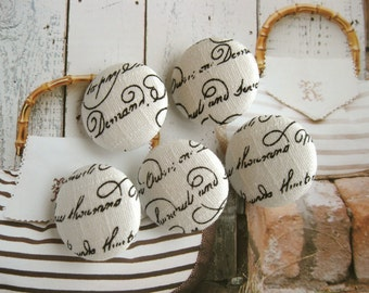 Handmade Rustic Retro Cream White Black French Word Script Fabric Covered Buttons, Wedding French Script Fridge Magnets, 1.1 Inches 5's