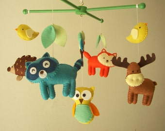 "Baby crib mobile, forest mobile, animal mobile , felt mobile ""Forest friends 3"" - Fox, Raccoon Owl, Moose, Hedgehog"